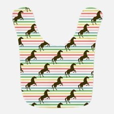Cute Horse, Equestrian, Rainbow Pattern Bib