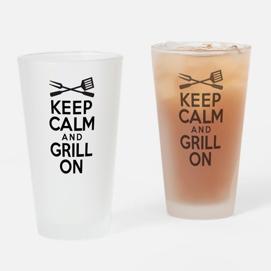 Keep Calm Grill On Drinking Glass