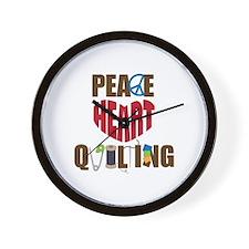 Peace Heart Quiltilng Wall Clock