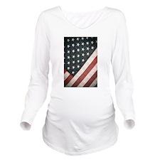 Patriotic Retro USA Flag Long Sleeve Maternity T-S