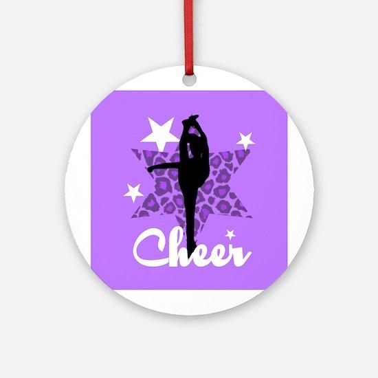 Purple Cheerleader Ornament (Round)