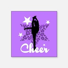 "Purple Cheerleader Square Sticker 3"" x 3"""