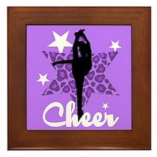 Purple Cheerleader Framed Tile