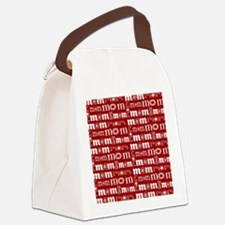 Red and White Mom Pattern Canvas Lunch Bag