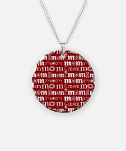 Red and White Mom Pattern Necklace