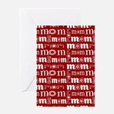 Red and White Mom Pattern Greeting Cards