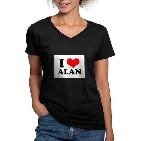I Heart Alan Women's V-Neck Dark T-Shirt