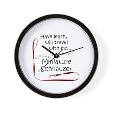 Mini Schnauzer Travel Leash Wall Clock