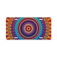 Fire and Ice mandala Aluminum License Plate