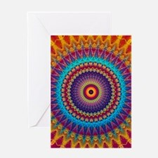 Fire and Ice mandala Greeting Cards