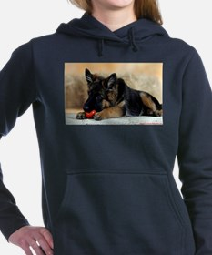 German Shepherd Puppy with Red Ball Women's Hooded