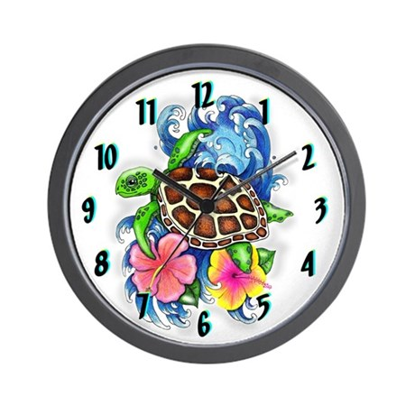 Tropical Sea Turtle Hibiscus Clock Design Wall Clo