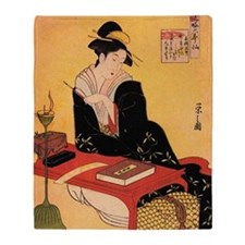 Immortal Poet by Chobunsei Eishi Throw Blanket