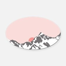 Mountain Sunrise Oval Car Magnet