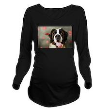 Lovely St. Bernard Long Sleeve Maternity T-Shirt