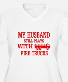 Husband Plays With Fire Trucks Plus Size T-Shirt