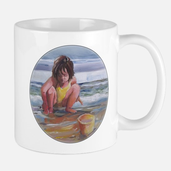 Little girl and seashell at the beach Mugs