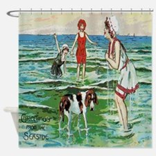 Vintage Greetings From Seaside Dog Shower Curtain