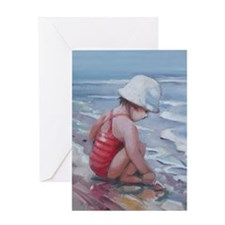 Little girl with white hat at the beach Greeting C