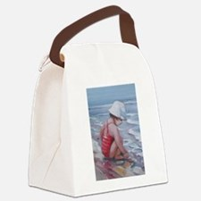 Little girl with white hat at the beach Canvas Lun
