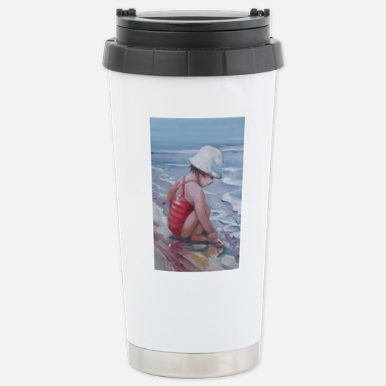 Little girl with white hat at the beach Travel Mug
