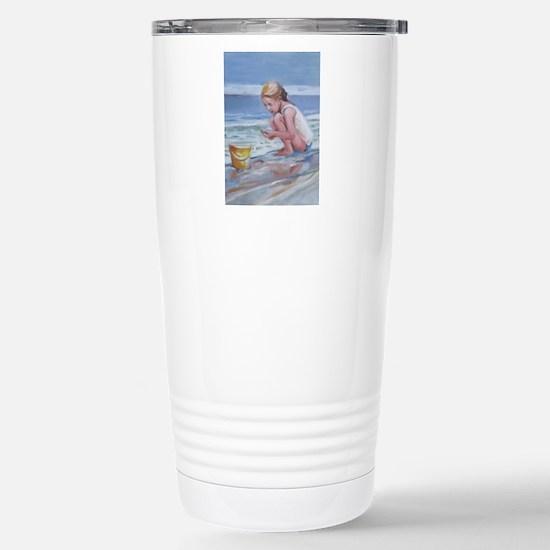 Little girl and seashell at the beach Travel Mug