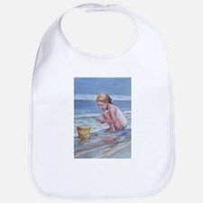Little girl and seashell at the beach Bib