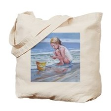 Little girl and seashell at the beach Tote Bag