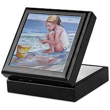 Little girl and seashell at the beach Keepsake Box
