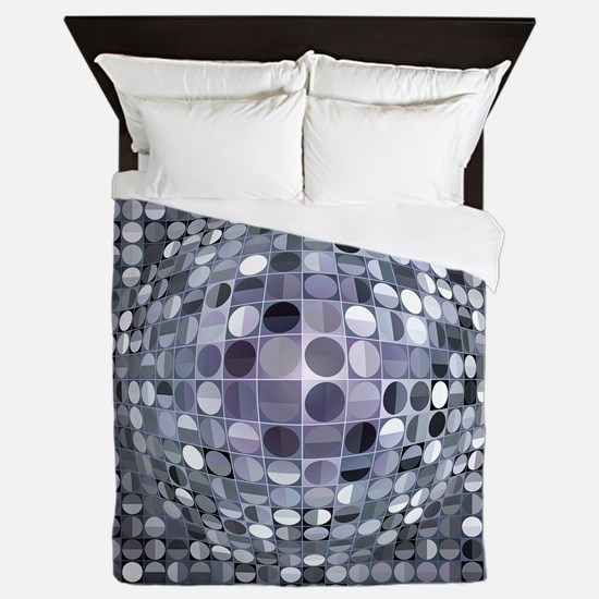 Optical Illusion Sphere - Monochrome Queen Duvet