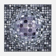 Optical Illusion Sphere - Monochrome Tile Coaster