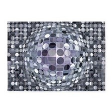 Optical Illusion Sphere - Monochrom 5'x7'Area Rug