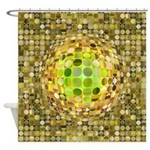 Optical Illusion Sphere - Yellow Shower Curtain