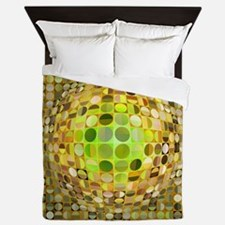 Optical Illusion Sphere - Yellow Queen Duvet