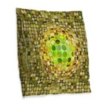 Optical Illusion Sphere - Yell Burlap Throw Pillow