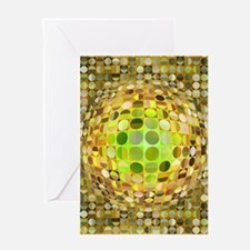 Optical Illusion Sphere - Yellow Greeting Card
