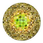 Optical Illusion Sphere - Yellow Round Car Magnet