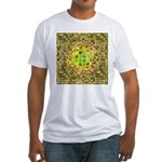 Optical Illusion Sphere - Yellow Fitted T-Shirt