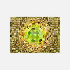 Optical Illusion Sphere - Yellow 5'x7'Area Rug