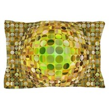 Optical Illusion Sphere - Yellow Pillow Case