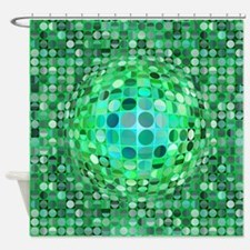 Optical Illusion Sphere - Green Shower Curtain