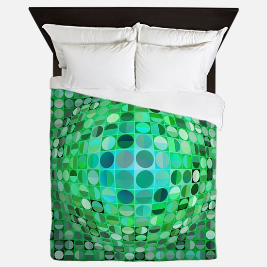 Optical Illusion Sphere - Green Queen Duvet