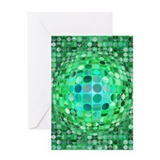 Optical Illusion Sphere - Green Greeting Card