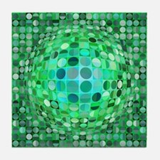 Optical Illusion Sphere - Green Tile Coaster