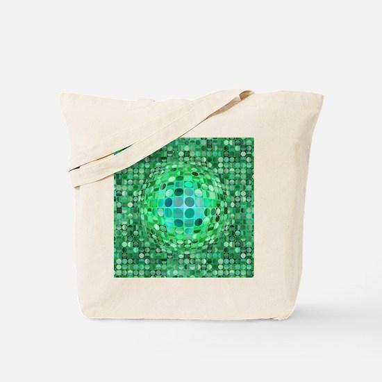 Optical Illusion Sphere - Green Tote Bag