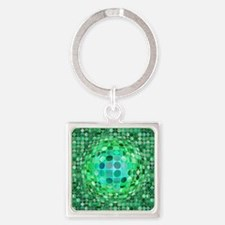 Optical Illusion Sphere - Green Square Keychain
