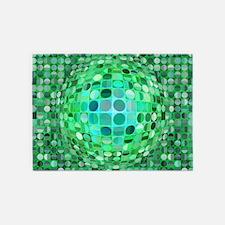 Optical Illusion Sphere - Green 5'x7'Area Rug