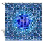 Optical Illusion Sphere - Blue Shower Curtain