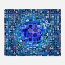 Optical Illusion Sphere - Blue Throw Blanket
