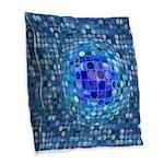 Optical Illusion Sphere - Blue Burlap Throw Pillow